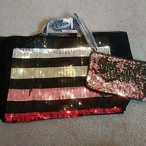 NWT Victorias Secret Sequins Bag Set